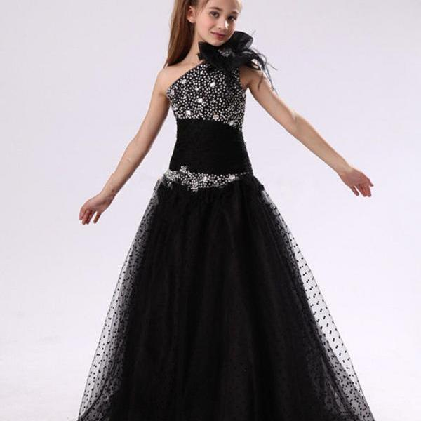 Latest First Communion Dresses for Girls Sparkle Sequin Party Gowns Kids Formal Dress for Wedding Black Flower Girl Dresses