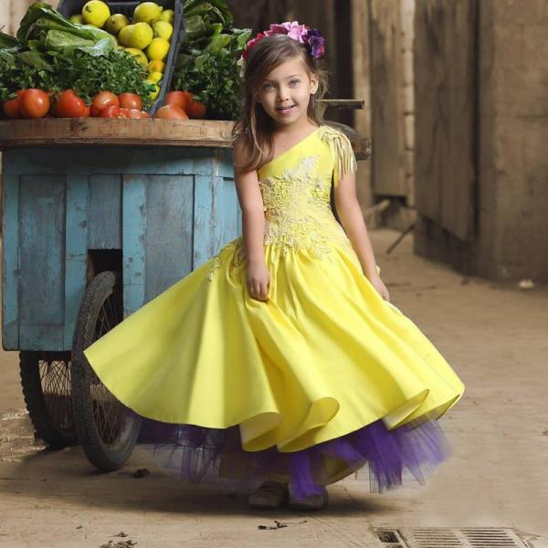 2016 Pretty One Shoulder Flower Girl Dresses Tassel Appliques Kids Prom Dress Cheap Pageant Dresses For Little Girls Toddler Gown Birthday