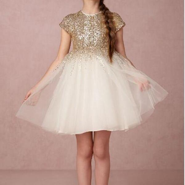 2016 New Lovely Gold Sequined Flower Girls Dresses Short Sleeves Princess A Line Tulle Zipper Back First Communion Birthday Dresses