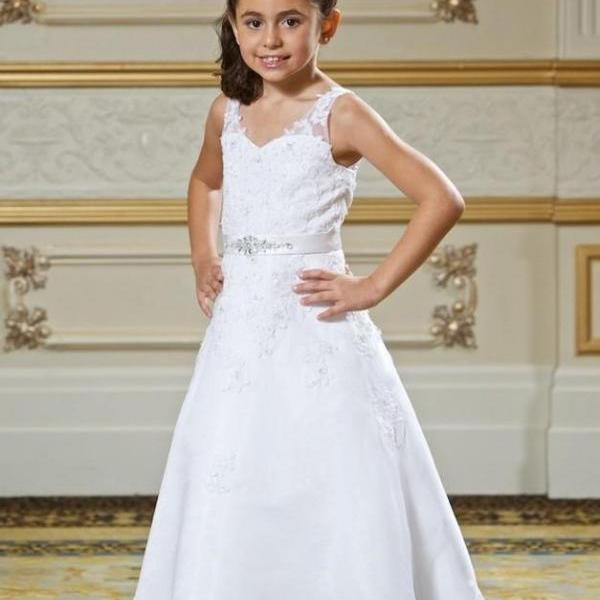 Lovely Lace Flower Girls Dresses Inexpensive Pageant Dress For Little Girls Long Childen Party Gowns With Applique Beaded