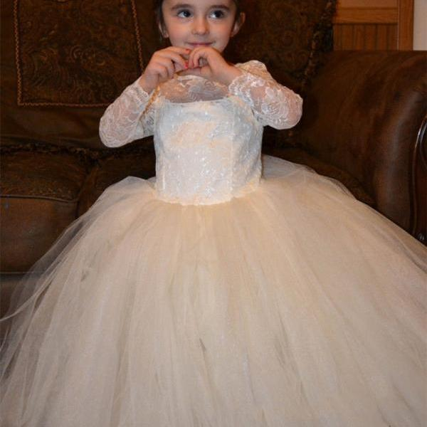 New Tulle Lace Flower Girl Dresses White Ivory Tutu Birthday Ball Gown Princess Christmas Dresses with Long Sleeves Junior Bridesmaid Gown